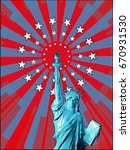 low poly liberty in front view... | Shutterstock .eps vector #670931530