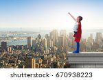 little kid protecting the city... | Shutterstock . vector #670938223