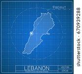 lebanon blueprint map template... | Shutterstock .eps vector #670939288
