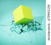 cube hits surface and destroys... | Shutterstock . vector #670941154