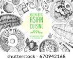 asian cuisine top view frame.... | Shutterstock .eps vector #670942168