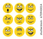 cartoon faces with expressions.... | Shutterstock . vector #670943014