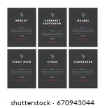 red wine labels. premium... | Shutterstock . vector #670943044