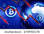bitcoin currency crisis news... | Shutterstock . vector #670950178
