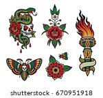 tattoo flash pack 1 | Shutterstock .eps vector #670951918