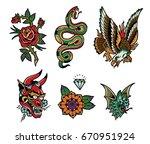 tattoo flash pack 2 | Shutterstock .eps vector #670951924