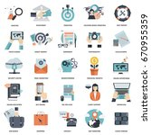 set of flat design icons for... | Shutterstock .eps vector #670955359