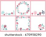 set of four cards with cartoon... | Shutterstock .eps vector #670958290