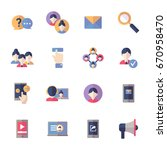 social media icons set 1   flat ... | Shutterstock .eps vector #670958470