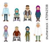 senior people set   muslim | Shutterstock .eps vector #670962538