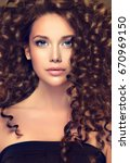 brunette  girl with long  and   ... | Shutterstock . vector #670969150