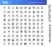 set of 100 vector business and... | Shutterstock .eps vector #670975270