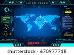 futuristic interface world map...