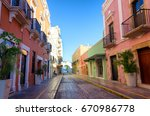 view of a historic colonial... | Shutterstock . vector #670986778