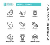 line icons about tropical... | Shutterstock .eps vector #670987540
