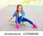 fashion portrait little girl... | Shutterstock . vector #670988980