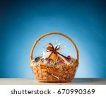 gift basket on blue background | Shutterstock . vector #670990369