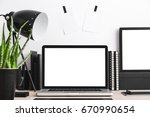 stylish workspace with laptop... | Shutterstock . vector #670990654