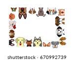cute dogs rectangle frame | Shutterstock .eps vector #670992739