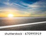 asphalt road and sky cloud... | Shutterstock . vector #670995919