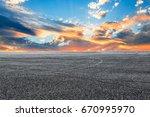 asphalt road and sky cloud...   Shutterstock . vector #670995970