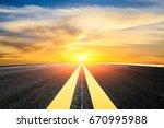asphalt road and sky cloud... | Shutterstock . vector #670995988