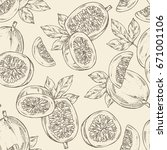 seamless pattern with passion... | Shutterstock .eps vector #671001106