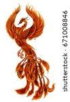 phoenix fire bird illustration... | Shutterstock .eps vector #671008846