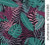 tropical background with palm... | Shutterstock .eps vector #671021383