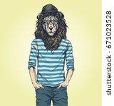 hipster lion vector illustration | Shutterstock .eps vector #671023528