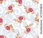 seamless floral pattern with... | Shutterstock .eps vector #671024824