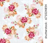 seamless floral pattern with... | Shutterstock .eps vector #671024854
