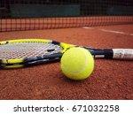 tennis racket with a tennis... | Shutterstock . vector #671032258
