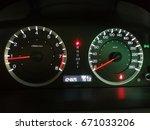 automobil speedometer in white... | Shutterstock . vector #671033206