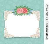 invitation or greeting card... | Shutterstock . vector #671034910