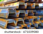 prepare sheet pile for... | Shutterstock . vector #671039080