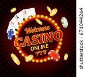 welcome online casino concept... | Shutterstock . vector #671044264