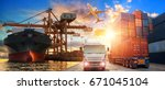 logistics and transportation of ... | Shutterstock . vector #671045104