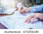 double exposure of business man ... | Shutterstock . vector #671056180
