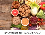 selection of healthy food | Shutterstock . vector #671057710