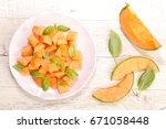 melon and basil | Shutterstock . vector #671058448