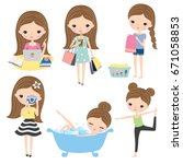 vector illustration of girl or... | Shutterstock .eps vector #671058853
