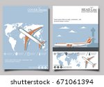 aviation flyers set with... | Shutterstock .eps vector #671061394