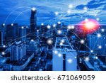 network connection technology... | Shutterstock . vector #671069059