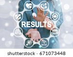 Small photo of Achieve Result Health Care Concept. Doctor offers icon results text on virtual screen. Medical success strategy.