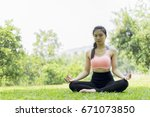 beautiful woman relax yoga in... | Shutterstock . vector #671073850
