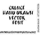 hand drawn dry brush font.... | Shutterstock .eps vector #671074336