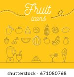 fruit icons set illustration... | Shutterstock .eps vector #671080768