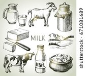 hand drawn sketch milk products ...   Shutterstock .eps vector #671081689