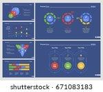 six statistics charts slide... | Shutterstock .eps vector #671083183